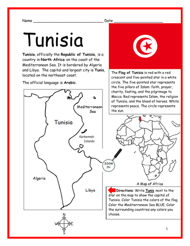 TUNISIA - Introductory Geography Worksheet