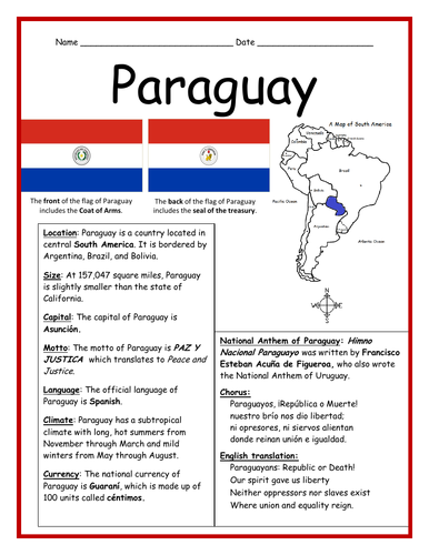 PARAGUAY - Fact Sheet and Cloze Activity