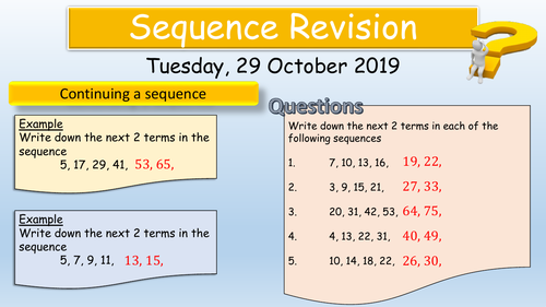 Linear Sequences revision