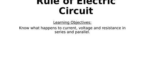 Rules of Electric Circuit