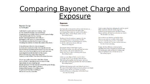 KS4 lower ability - Comparing AQA War Poetry: Bayonet Charge and Exposure
