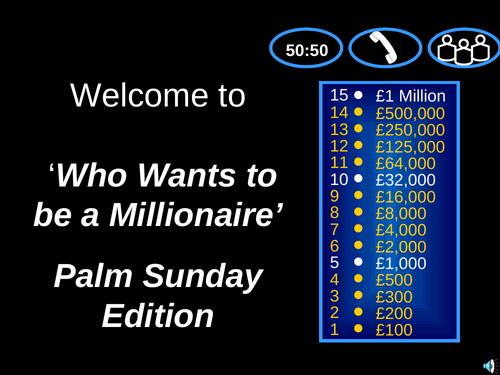 who wants to be a millionaire- Palm Sunday