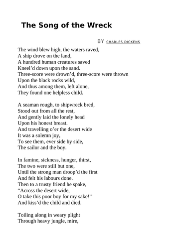 The Song of the Wreck by Charles Dickens
