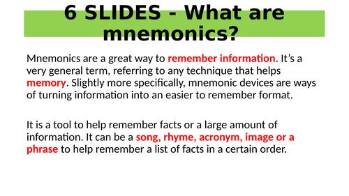 SOCIOLOGY 6 SLIDES - Mnemonics