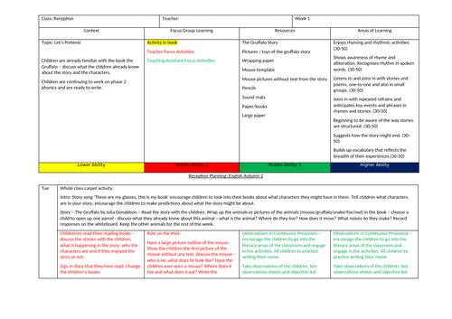 EYFS Reception English Literacy Planning Autumn 2
