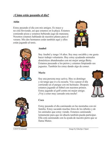 Spanish Present Progressive Reading: ¿Cómo estás pasando el día? (Progresivo)