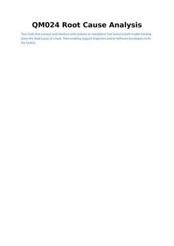 QM024 Root Cause Analysis V002