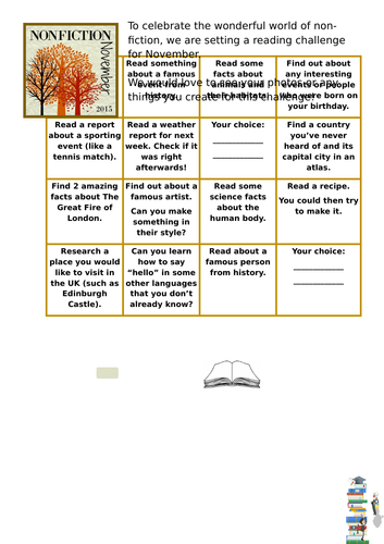 Non Fiction Reading Challenge Bingo