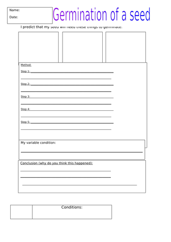 Germination of a seed - Experiment planning sheet
