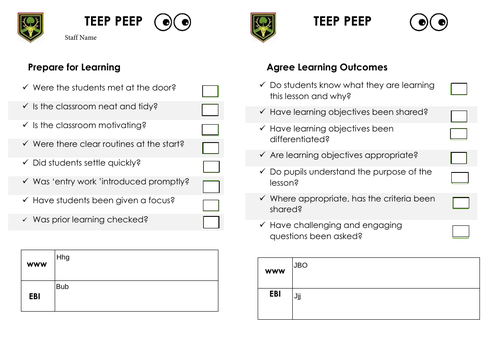 TEEP Resource for seeing TEEP in lessons
