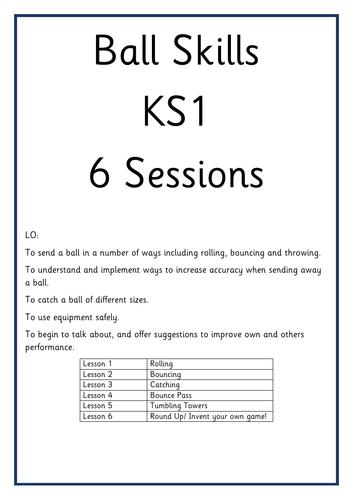 Ball Skills Planning KS1 6 Sessions