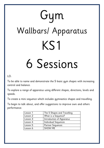 Wallbars Gymnastics Planning KS1 6 Sessions