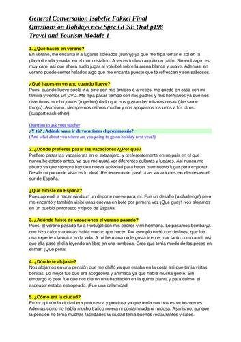 Spanish GCSE module 1 oral questions grade 9