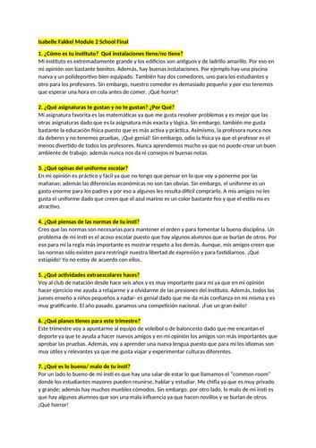 Spanish GCSE Module 2 oral questions grade 9