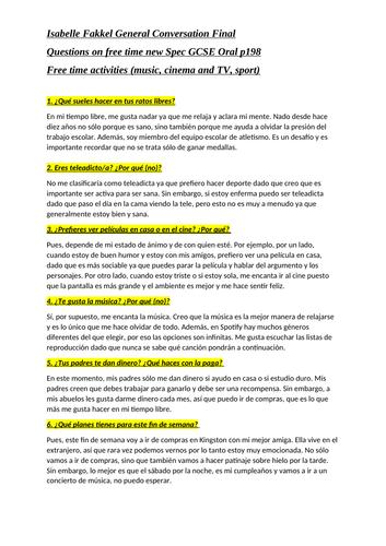 Spanish GCSE module 4 oral questions grade 9