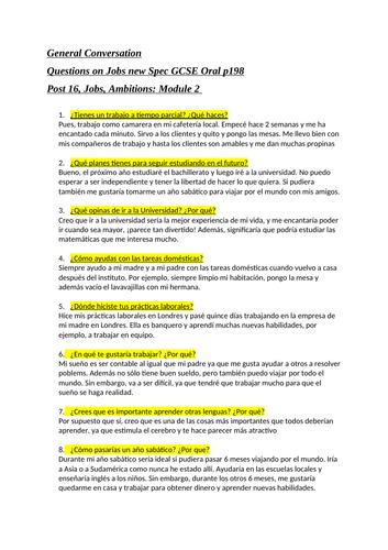 Spanish GCSE module 7 oral questions grade 9