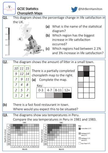 GCSE Statistics: Choropleth Maps - Reasoning Worksheet