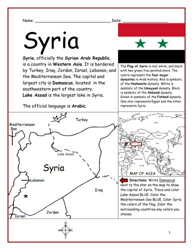 SYRIA - Introductory Geography Worksheet