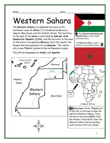 WESTERN SAHARA - Printable handout with simple map