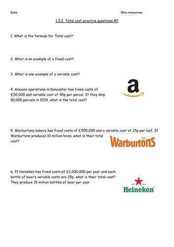 EDEXCEL GCSE Business 1.3.2 Total cost calculation practice worksheet #1