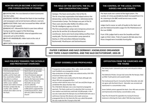GCSE History Weimar and Nazi Germany Knowledge Organiser Topic 3 The Nazi Dictatorship