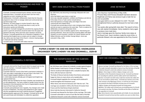 GCSE History Henry VIII and His Ministers Knowledge Organiser Topic 2