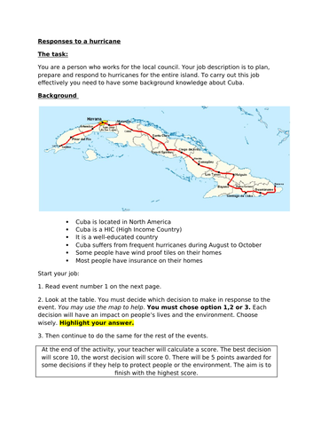 Preparation and response to Hurricanes