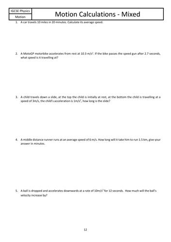 GCSE Motion Mixed Calculations