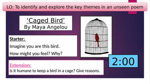 Caged Bird by Maya Angelou Whole lesson - imagery