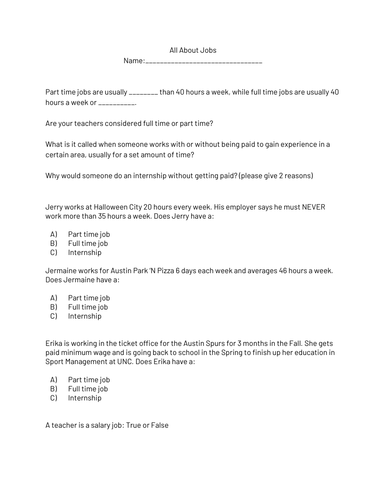 All About Jobs Worksheet