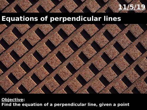 Equations of perpendicular lines