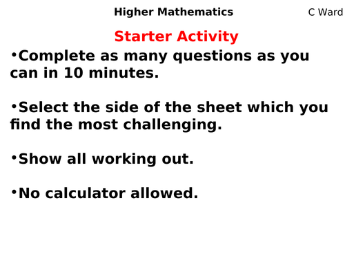 HIGHER MATHS LESSON: INEQUALITIES ON NUMBER LINES