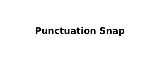 Punctuation Snap SPAG Year 2