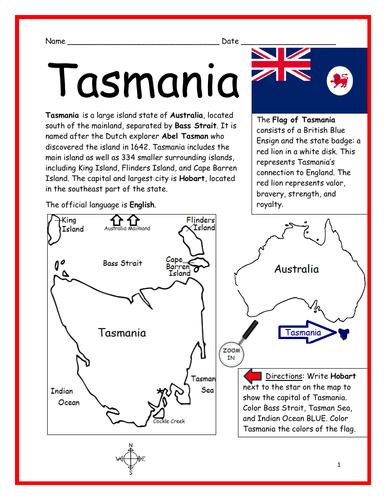 TASMANIA - Introductory Geography Worksheet
