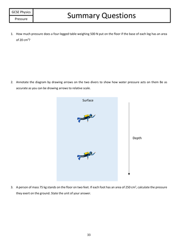 Pressure Summary Questions
