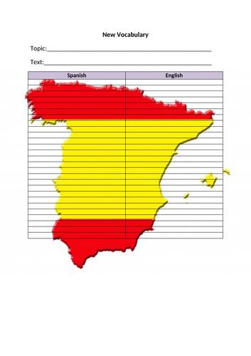 Blank Vocab  List  - Spanish