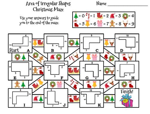 Area of Irregular Shapes Game: Christmas Math Maze