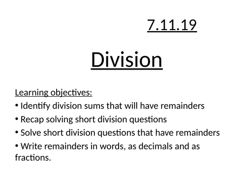 Division involving remainders