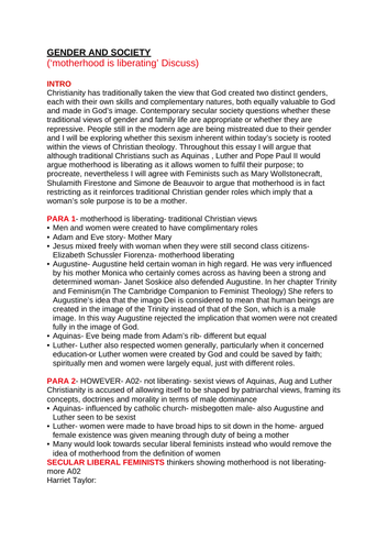 OCR RELIGIOUS STUDIES- Gender and Society ESSAY PLANS