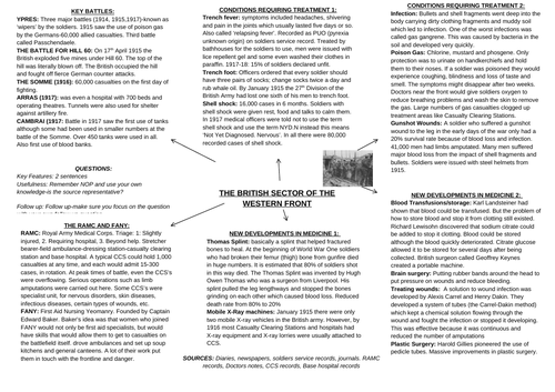 GCSE History Medicine in Britain Knowledge Organiser The British Sector of the Western Front