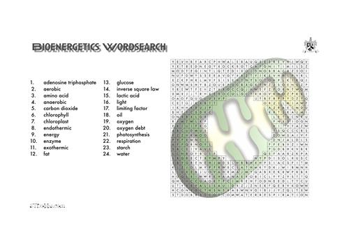 Bioenergetics word search