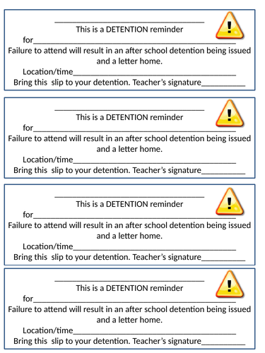 Detention Reminder Slips