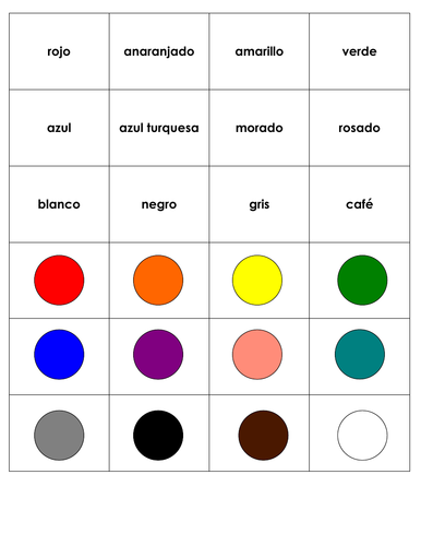Los colores: Spanish Flashcards, Memory and Go Fish Game Deck for Colors