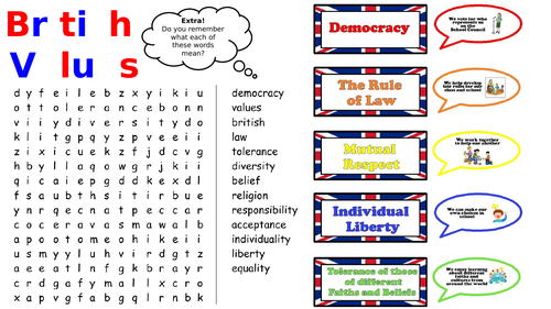 British Values Wordsearch
