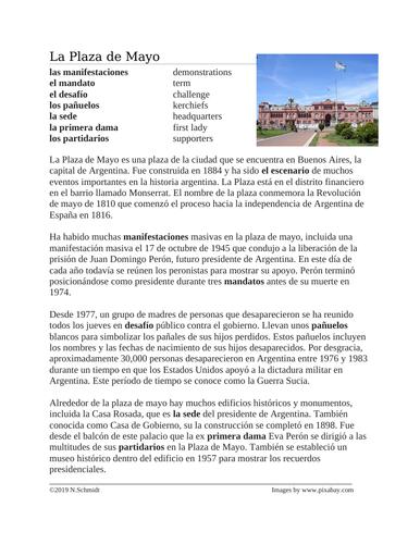 La Plaza de Mayo y La Casa Rosada Lectura y Cultura: Spanish Cultural Reading