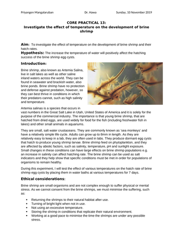 Core Practical 13 - Effect of temperature on development of brine shrimp hatch rate