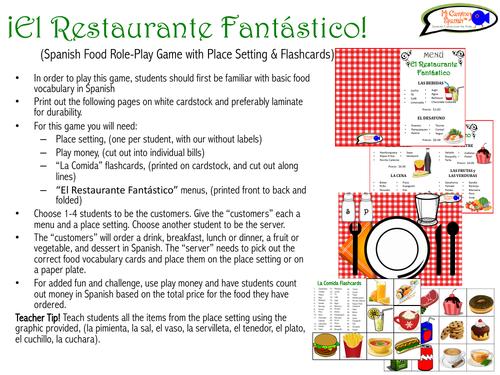 """El Restaurante Fantástico"" (Spanish Role-Play Game with Flashcards)"