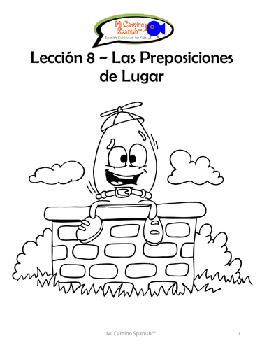 Prepositions of Place - Spanish (4 fun worksheets!)