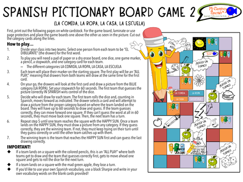 "Spanish ""Pictionary"" Board Game! -  FUN & CUSTOMIZABLE!"