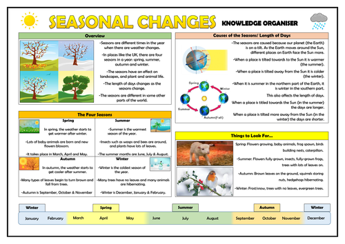 Year 1 Seasonal Changes Knowledge Organiser!